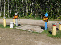 Dumping et station de l'eau à un terrain de camping Photographie stock