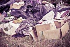 Dumping illégal avec des bouteilles, des boîtes et des sachets en plastique Photographie stock libre de droits