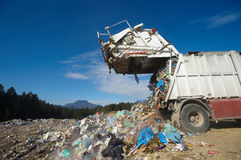 Dumping truck. Is emptying its load Royalty Free Stock Photos