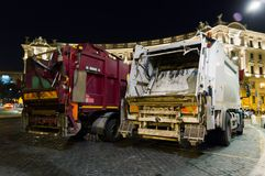 Dumping truck. City garbage truck by night in Rome, Italy Royalty Free Stock Photo
