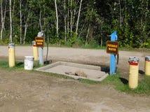 Dumping und Wasser-Station an einem Campingplatz Stockfotografie