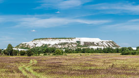 Dumping of waste in the production of fertilizers. Panorama of a mountain slope waste limestone Royalty Free Stock Photo