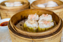 Dumpling in Bamboo Basket. Stock Photography