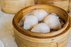 Dumpling in Bamboo Basket. Stock Photos