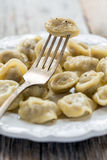 Dumpling on a fork. Royalty Free Stock Image