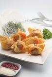 Dumpling. A plate of fried prawn dumpling Stock Photography