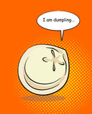 Dumpling pop art with bablom and text. I am dumpling. Food on an Royalty Free Stock Photography