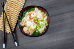 Dumpling and prawn asian soup Royalty Free Stock Images