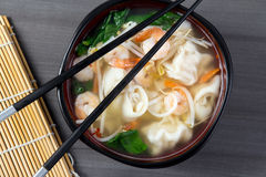 Dumpling and prawn asian soup Stock Photo