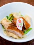 Dumpling with roasted duck stock images