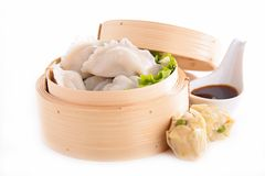 Dumpling. And sauce isolated on white Royalty Free Stock Photos