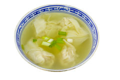 Dumpling soup. Chinese food - Bowl of dumpling soup isolated on white background Royalty Free Stock Images