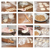 Dumplings. Set of photos with raw dumplings on cutting board Royalty Free Stock Image