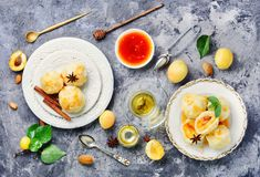 Dumplings with apricot and syrup. National dish of Czech and Slovak cuisine of dumplings with apricot stock photography