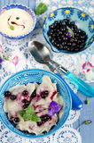 Dumplings with blueberries Royalty Free Stock Photos