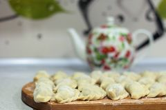 Dumplings on the board royalty free stock images