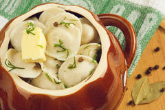 Dumplings. With butter and spices Royalty Free Stock Photo