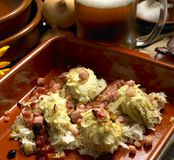 Dumplings with cabbage. South Bohemian dumplings with cabbage Stock Image