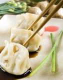 Dumplings & chopsticks Stock Photo