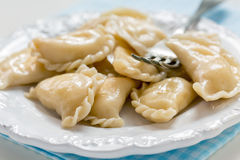 Dumplings with cottage cheese and fork on the plate. Royalty Free Stock Photos