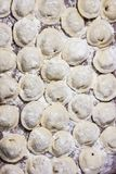 Dumplings in flour on the table. Raw dumplings with handmade meat close-up. Dumplings of hand-made meat, sprinkled with flour on the table Stock Image