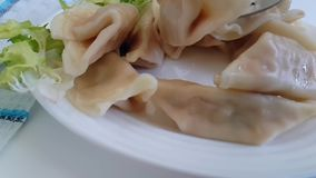 Dumplings fork, slow-motion shooting stock video footage