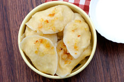 Dumplings with fried onions Royalty Free Stock Photos