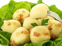 Dumplings with greaves, closeup Stock Images