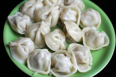 Dumplings on a plate stock photos