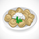Dumplings with greens on a plate. Vector. Illustration illustration Royalty Free Illustration