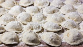 Dumplings in flour on the table. Raw dumplings with handmade meat close-up. Dumplings of hand-made meat, sprinkled with flour on the table Royalty Free Stock Photo