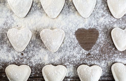 Dumplings hearts Stock Images