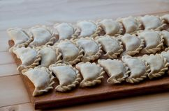 Dumplings are home-made on the table royalty free stock photos