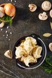 Dumplings Jiaozi, Dimsum, Momo Or Ha Gao On Dark Background Royalty Free Stock Photos