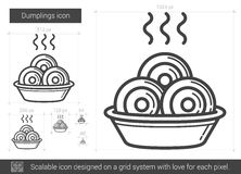 Dumplings line icon. Stock Photos