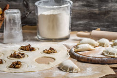 Dumplings made of wild mushrooms Stock Photo