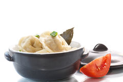 Dumplings with meat and broth Stock Images
