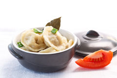 Dumplings with meat and broth Royalty Free Stock Photos