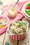 Dumplings with meat and dough pelmeni Stock Photography