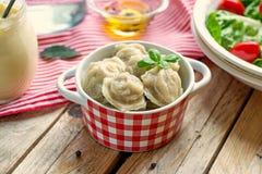 Dumplings with meat and dough pelmeni Royalty Free Stock Photos
