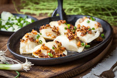 Dumplings with meat, onion and bacon. Royalty Free Stock Photo