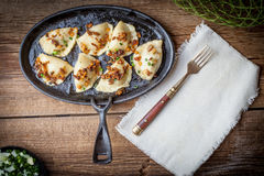 Dumplings with meat, onion and bacon. Stock Photography