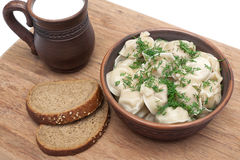 Dumplings with meat: Pelmeni russian national dish. Royalty Free Stock Photos