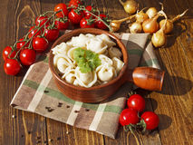 Dumplings with meat on a wooden table. With tomatoes and onions Stock Photos