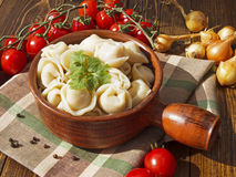 Dumplings with meat on a wooden table. With tomatoes and onions Royalty Free Stock Photos