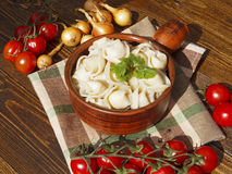 Dumplings with meat on a wooden table. With tomatoes and onions Stock Images