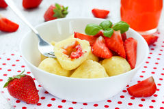 Dumplings Of Cottage Cheese With Strawberries, Dietary Tasty Dis Stock Images