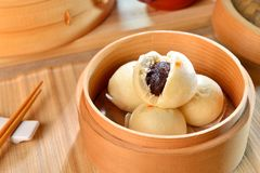 Dumplings Of Dense Dousha On Bamboo Tray In Restaurant Royalty Free Stock Photo