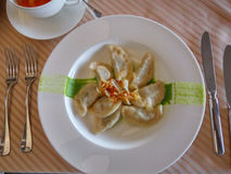 Dumplings with onion Royalty Free Stock Images