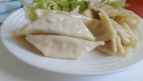 Dumplings on the plate fall, slow-motion shooting stock footage